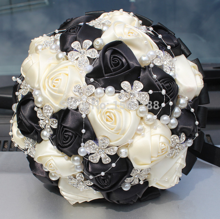 26 Color Accept Your Idea Make 100% Hand Made Top quality Artificial Pearl Beaded Black Iovry Silk Rose Wedding Bouquet Flowers(China (Mainland))
