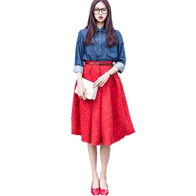 2015 юбка весной новые женщины ретро скрывать вырос жаккардовые высокая талия большие ...