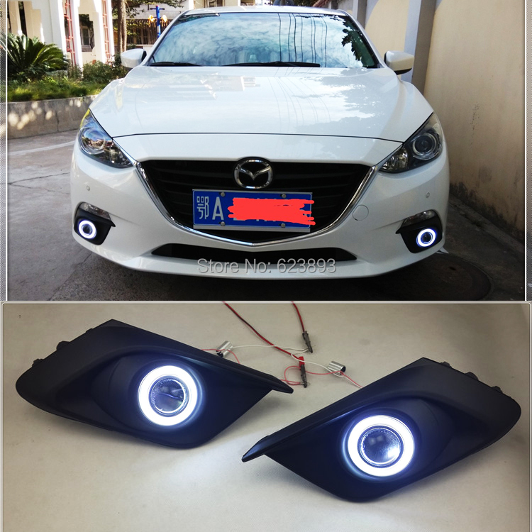 Free shipping, Fit Mazda 3 Axela 2013-2015 LED Daytime Running Lights DRL Fog lights + Angel Eyes Kit(China (Mainland))