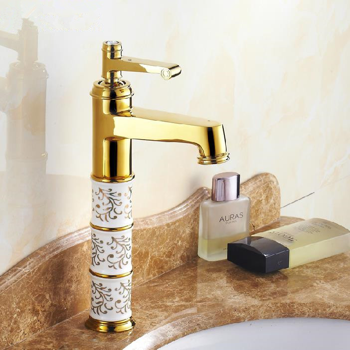 Free Shipping Modern Bathroom Products Golden Finished Hot and Cold Water Stage Basin Faucet Mixer,Single Handle JR-805-1K(China (Mainland))