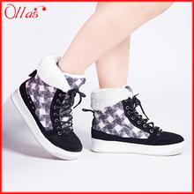 Export rusia alta calidad mujeres Casual botas de nieve a cuadros 2016 invierno nueva mujer 40 tamaño de invierno caliente impermeable calzado(China (Mainland))