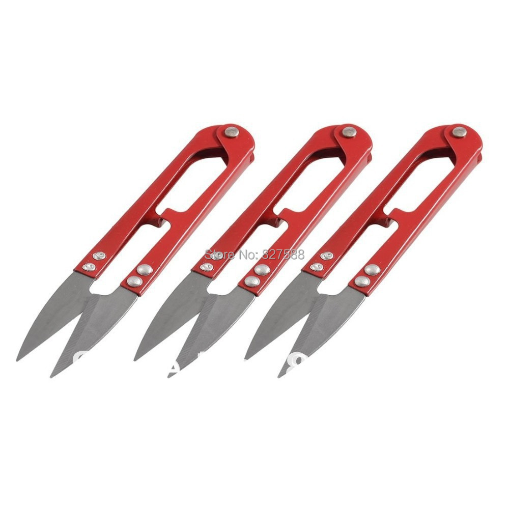 3 Pcs Red Handle Beading Thread Cutter Fishing Line U Sewing Scissors+Free shipping 2769(China (Mainland))
