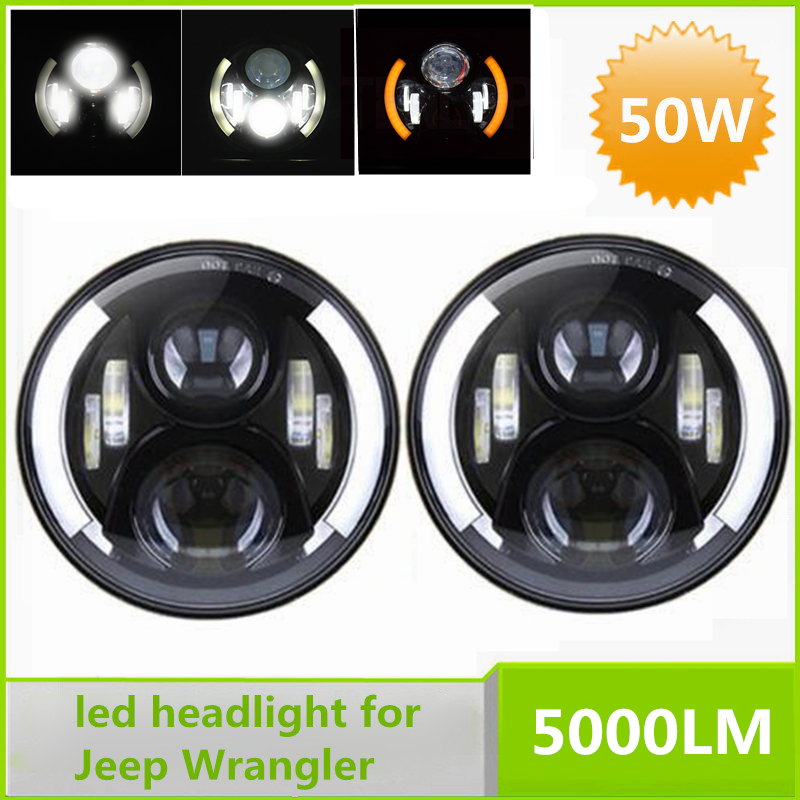 2Pcs Round 7 Inch 50W CREE LED Projector Headlight with Yellow DRL For 2007-2016 Jeep Wrangler Land Rover Hummer(China (Mainland))