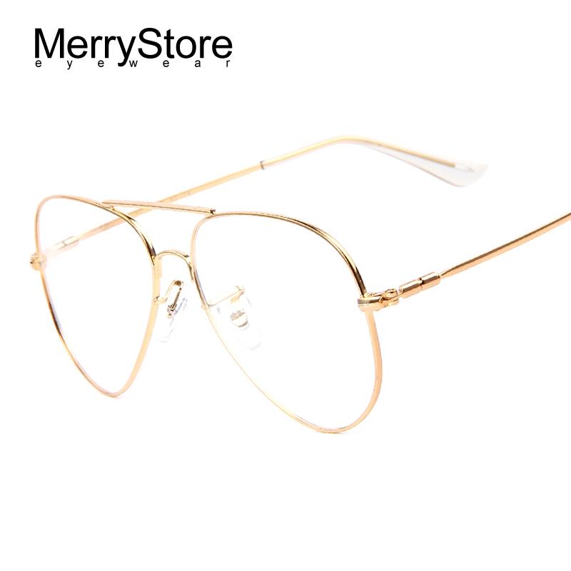 Gold Color Eyeglass Frames : MERRYSTOREFashion Men Titanium Eyeglasses Frames Men Brand ...