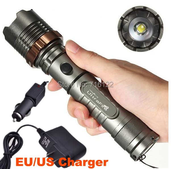 2300LM UltraFire XML T6 LED Rechargeable Flashlight Torch Light 5 Mode Lanterna Zoom Focus Flash Light AC+Car Charger(China (Mainland))
