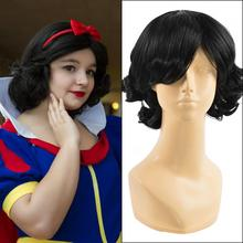 Snow White Princess Black Curly Short Halloween cosplay costume Wig Heat Resistant Fiber Wig For Black Women BE3244+a Wig cap