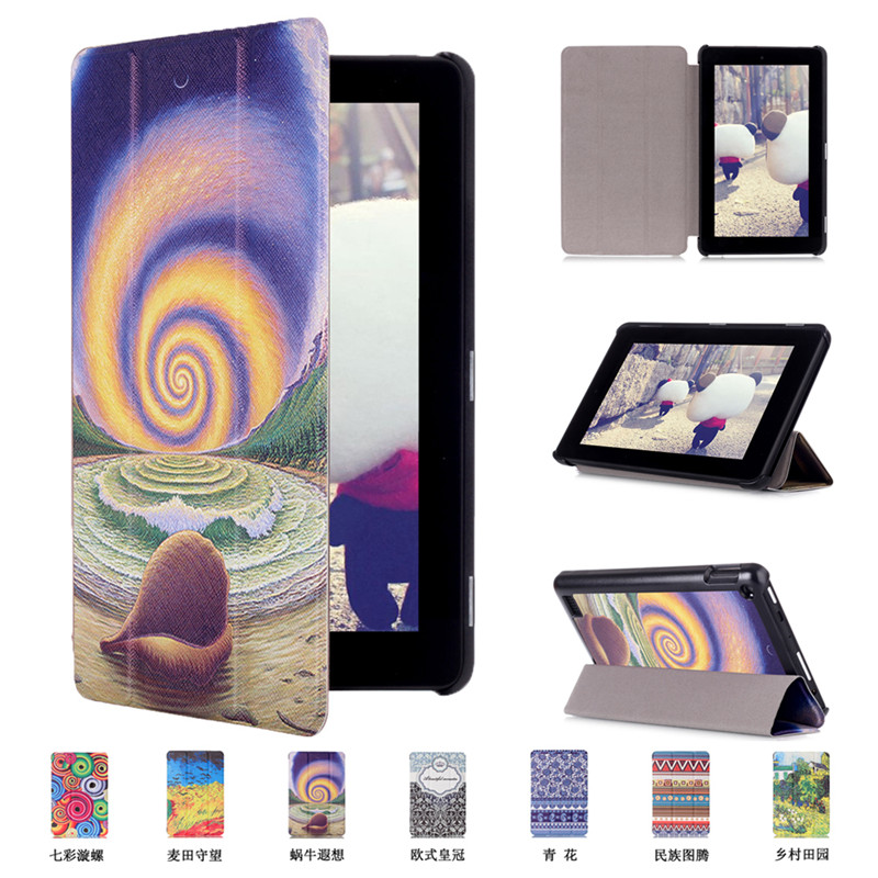 Fouda cover for Amazon kindle fire 7 case 2015 tablet cover case for kindle fire HD 7 inch PU Leather protective skin +film+pen(China (Mainland))
