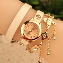 New Fashion Women Watch Punk Style Golden Chain Pocker Multilayer Leather Quartz Dress Watch Women Lady Casual Watch Wristwatch