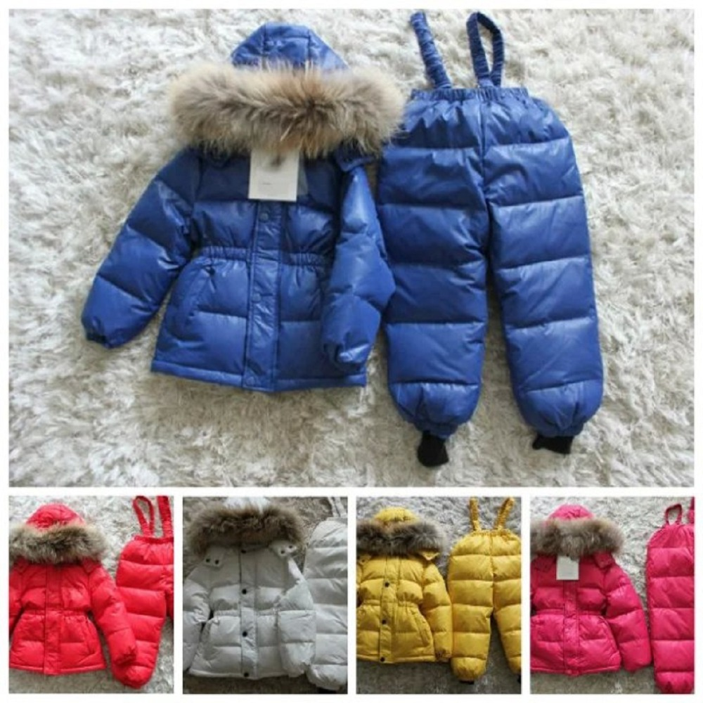 2015 Children's Winter Clothing Set ,Ski Suit Windproof Down Coat,winter jacket for baby boys&girls Warm Fur jackets.+pants(China (Mainland))