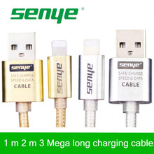 Senye Metal Braided Wire Mobile Phone Cables 1m 1.5m 2m 3m usb cable Data Sync Charger For iPhone 6 5 iPad IOS Data accessories