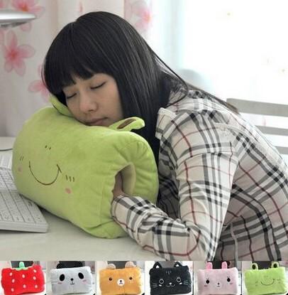 cartoon animal Plush winter hand warmer soft bed back pillow office student Prone position sleep mat cushion birthday gift(China (Mainland))