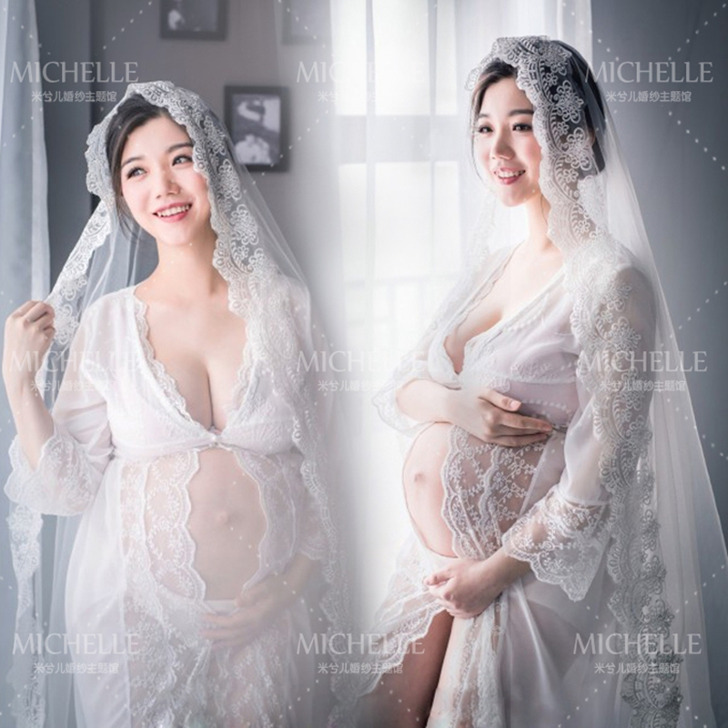 2016 Fashion White Maternity Lace Dress Pregnant Photography Props Fancy Pregnancy maternity photo shoot long dress Nightdress