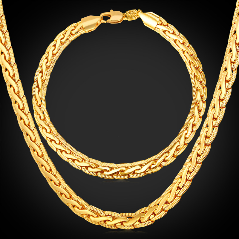 Gold Bracelet And Necklace Set Men Chain 18K Stamp Men Costume Fine Jewelry Trendy 18K Real Gold Plated Dubai Jewelry Sets NH228(China (Mainland))