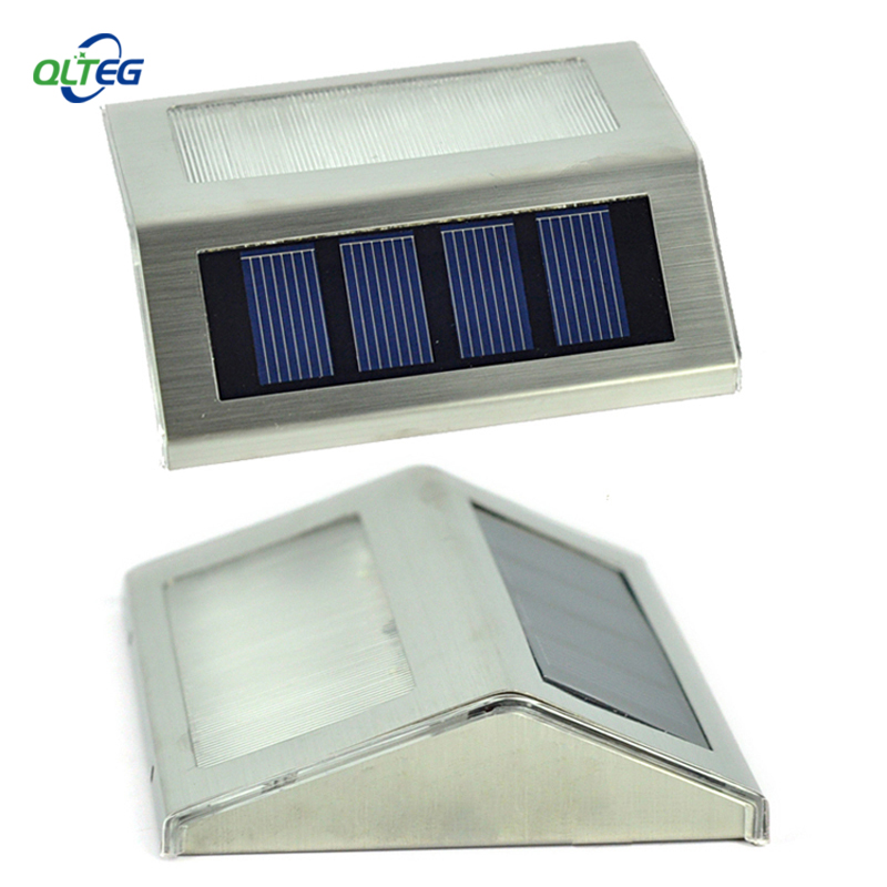 Solar Power LEDs Outdoor waterproof Garden Pathway Stairs Lamp Light Energy Saving LED Solar wall Lamps Warm White Cold white(China (Mainland))