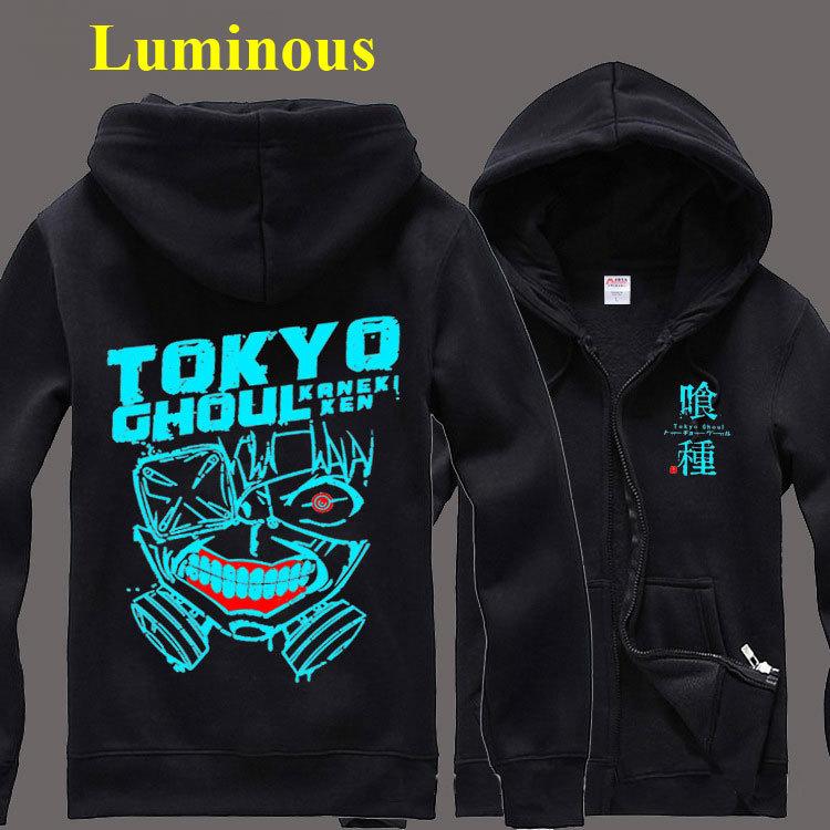 ANIME Tokyo Ghoul Luminous Autumn Sport Fleece Hoodie Costume Zip Cotton Sweatshirts Coat Spring Sweat Shirts Cool Cosplay Gift