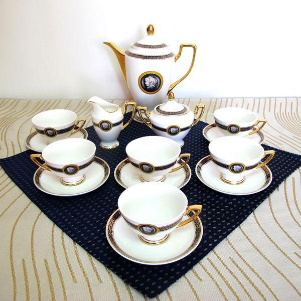 Housewarming wedding gift 15 pieces bone china coffee cup and saucer suit ceramic tea set porcelain