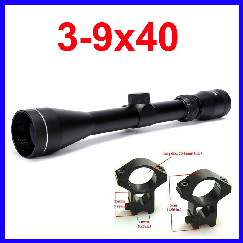 Pro 3-9x40 Air Riflescope Tactical Hunting Rifle Scope Airsoft Optics Telescopic Sight With 2pcs 11mm / 20 mm Free Scope Mounts<br><br>Aliexpress