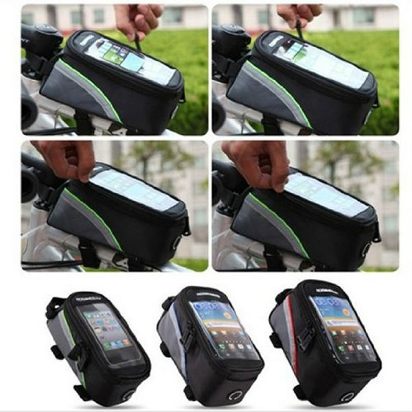50pc/lot ROSWHEEL 5.5 inch bike Cycling Frame Panniers Waterproof Touchscreen Phone Case Reflective Bag bicycle bags & panniers(China (Mainland))