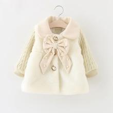 Winter Autumn Baby Girls Faux Fur Bow Lapel Collar Princess Party Wear Infant Kids Outerwear Coats roupas de bebe casaco(China (Mainland))