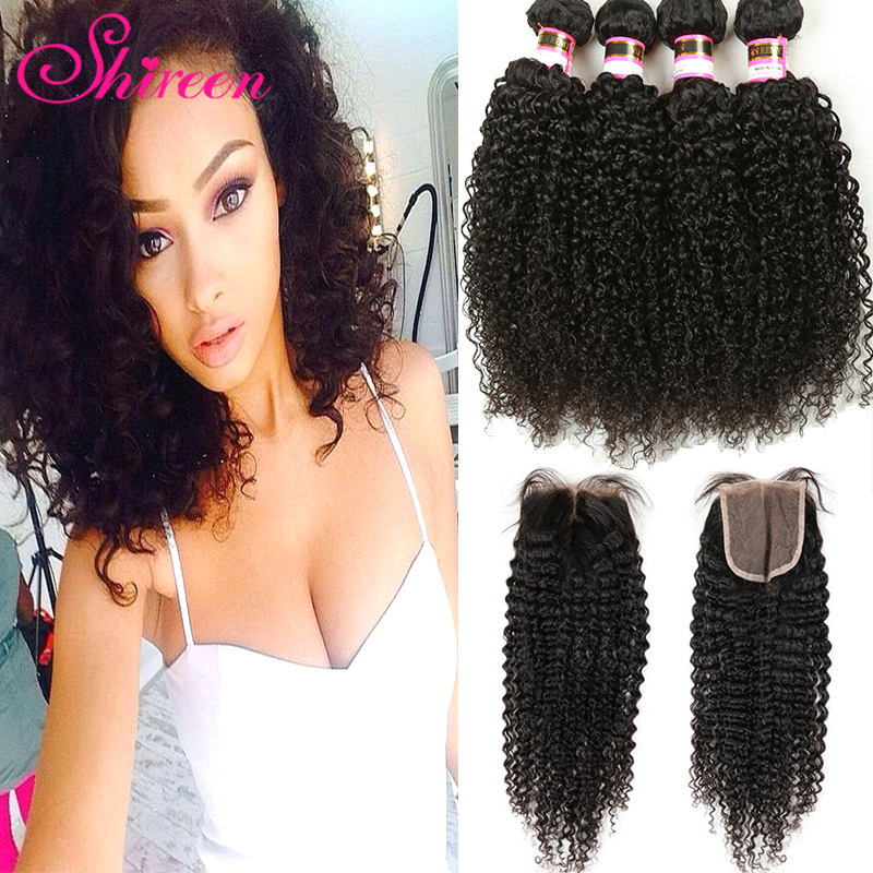 7a Grade Brazilian Curly Hair With Closure 4 Hair Bundles With Lace Closures Brazilian Virgin Hair Afro Kinky Curly With Closure<br><br>Aliexpress