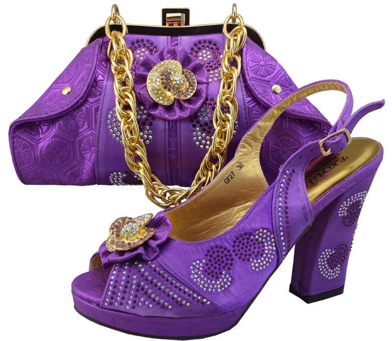 TBS1-32,Sumer style Italian Shoes With Matching Bags in purple,nice-looking African lady Shoes and Bag Set For Party,Size 38-42(China (Mainland))
