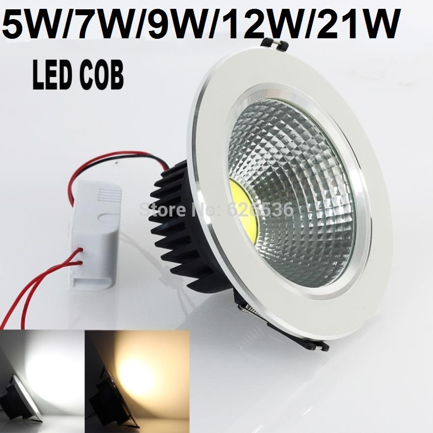 Free Shipping 5W/7W/9W/12W/21W Very Bright White/Warm White Recessed LED COB Chip Downlight LED Ceiling Light Spot Light Lamps(China (Mainland))