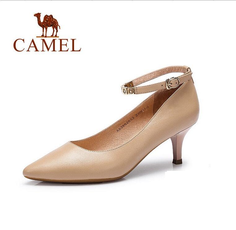 Фотография camel ladies pumps 2016 autumn genuine leather shoes fashion elegant wine glass shoes high heels single shoes female