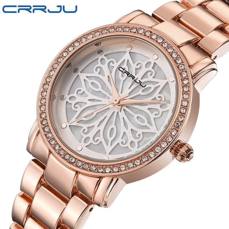 CRRJU luxury Dress Brand Fashion Watch Woman Ladies Rose gold Diamond relogio feminino Dress Clock female relojes mujer 2016 New(China (Mainland))
