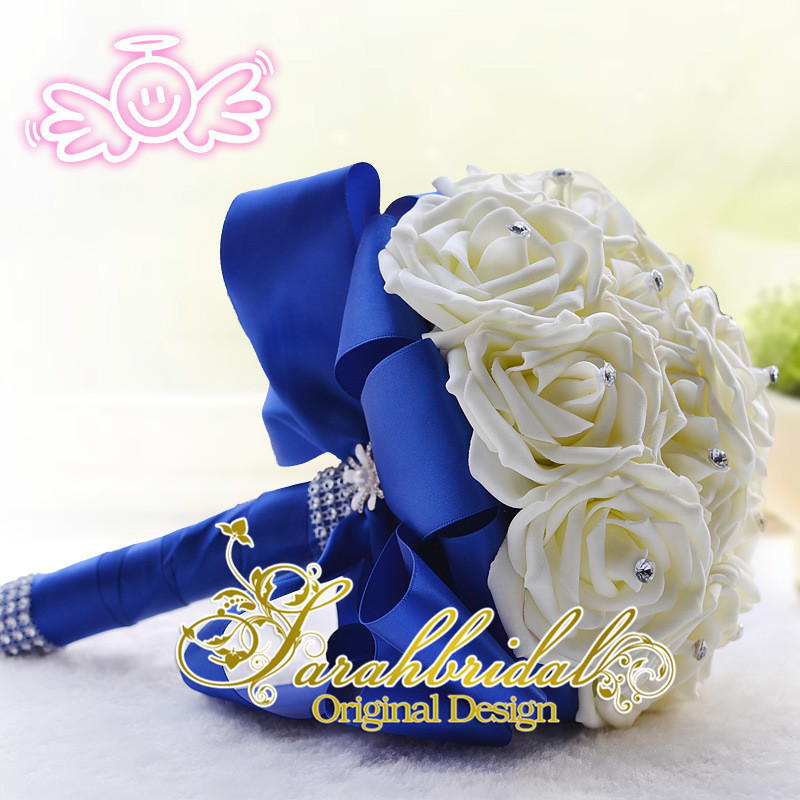 Royal Blue And Ivory Wedding Bouquets : Aliexpress buy ivory rose bridal wedding bouquet