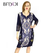 BFDADI Новая Женская Одежда 2016 Весной - Летом платье Винтажные принты платья с кружевом повседневные платья женщин большие размеры 7-2112(China (Mainland))