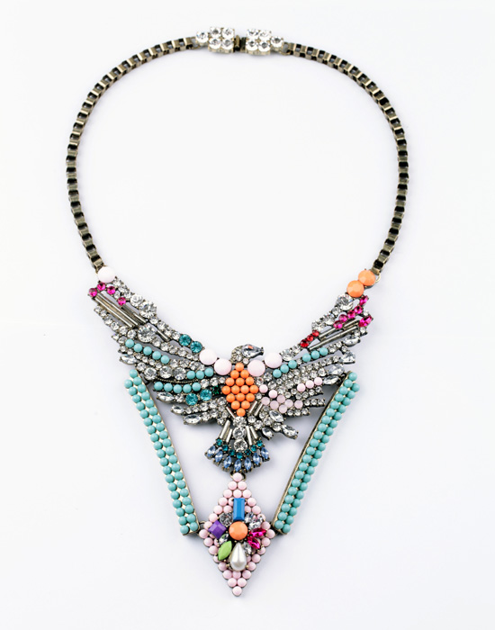Fashion accessories multicolour vintage eagle pendant sweater necklace(China (Mainland))