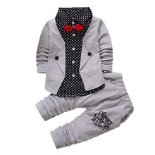 2016 Baby Boys Spring Casual Clothing Set Baby Clothes Boy Button Letter Bow 2-Piece Suit Set Children Jacket+Pant Clothing sets(China (Mainland))