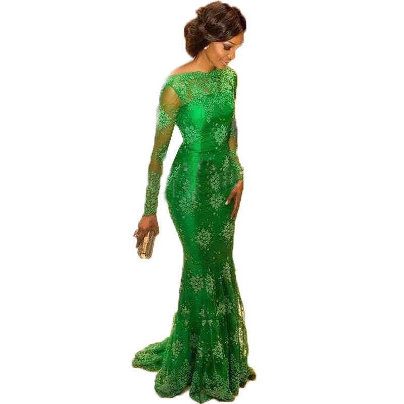 GN023 Elegant Applique Lace Green Pageant Dresses New Style Long Sleeves Satin Court Train Mermaid Zipper Evening Dress Gowns(China (Mainland))