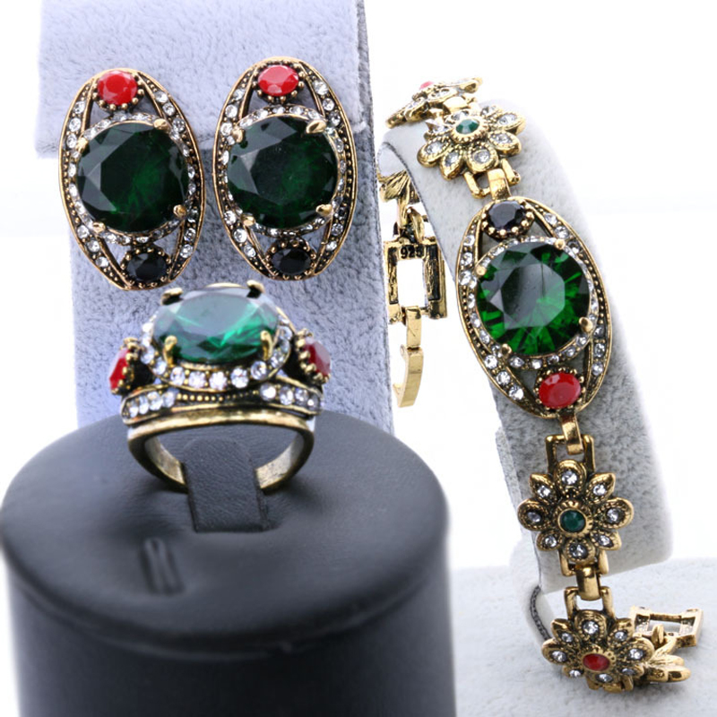Гаджет  Free Shipping 2015 Latest Green Womens Jewellery Gold Sets Vintage Look Earrings And Bracelet Cheap Fashion Jewelry Sets None Ювелирные изделия и часы