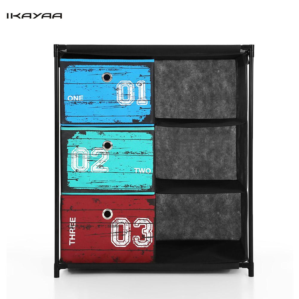 IKAYAA Closet Storage Furniture Organizer 3-Drawer 3 Grids Home Storage Cabinet Organizer for Clothes Toys Sockets Storage Box(China (Mainland))