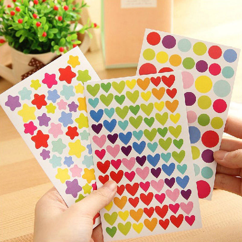 18 sheets/lot colorized heart star paper sticker DIY decoration sticker for album phone korean stationery gift<br><br>Aliexpress
