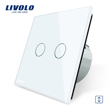 Livolo Luxury W/B/G 3 Color Crystal Glass Panel Wall Switch, EU Standard Touch Control led Curtains Switch C702W-1/2/3/5(China (Mainland))