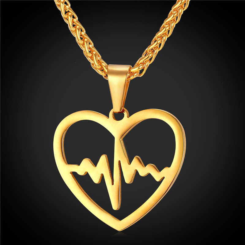 Heartbeat Necklace Heart Pendant Jewelry Stainless Steel/18K Real Gold Plated Fashion Necklaces For Women 2016 New GP2158(China (Mainland))