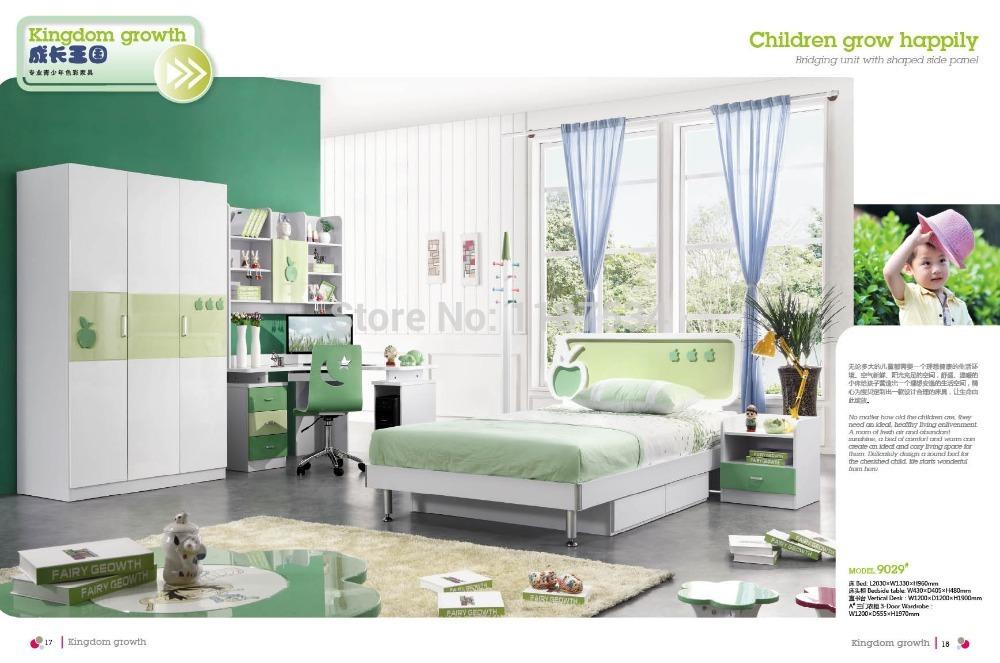 9029 Modern home furniture children bedroom furniture set wooden bed wardrobe desk chair bedside cabinet(China (Mainland))