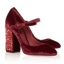 Fashion Mary Janes Rhinestone High Heels Handmade Vintage Wine Red Women Pumps 9CM Square Heel Wedding Dress Shoes Woman(China (Mainland))