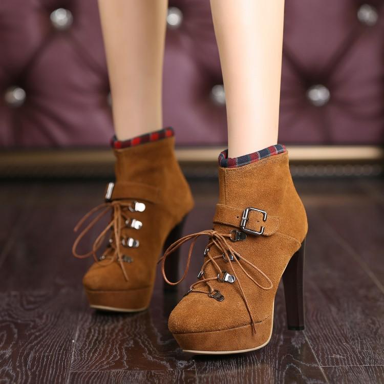 Autumn Women Ankle Boots High Heels 2015 Fashion brown Shoes Woman Platform Flock Boots Ladies Shoes Female Botas Femininas<br><br>Aliexpress
