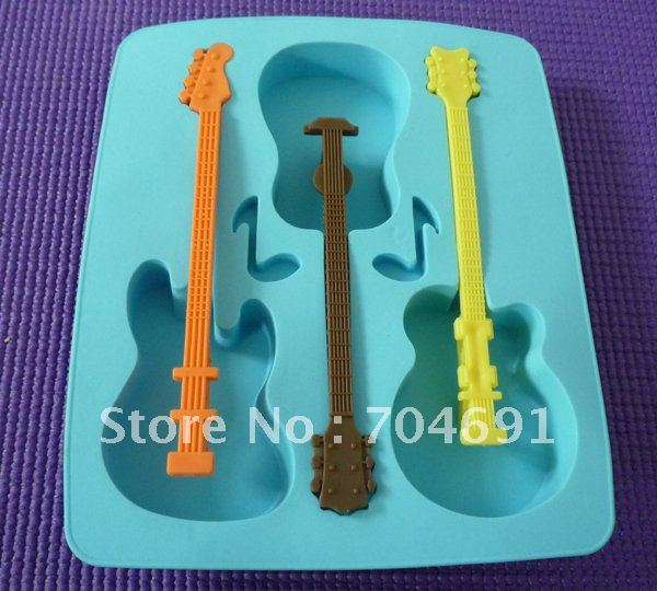 Free Shipping Guitar Freeze-2PCS Ice Cube Mold Tray Maker Silicone Random Colour(China (Mainland))