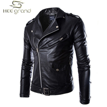 Motorcycle Style High-quality Punk Turn-down Collar Biker Men Leather Jacket MWP140(China (Mainland))