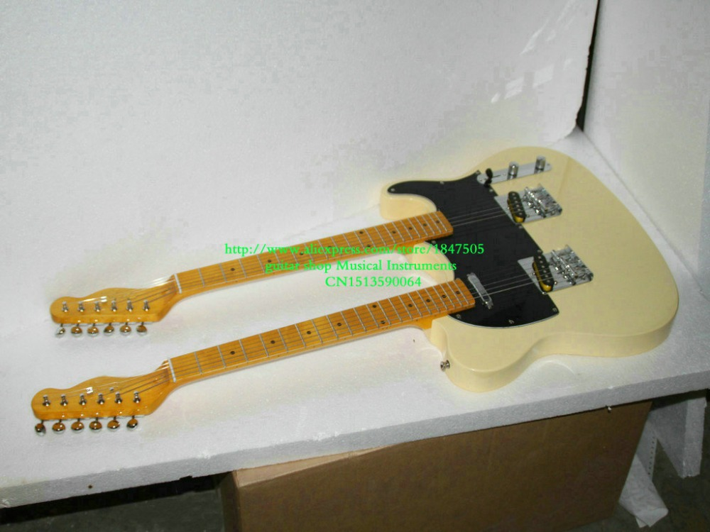 Custom Shop Cream Double Neck Electric Guitar Maple fingerboard free shipping(China (Mainland))