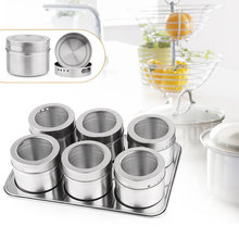 6pcs Magnetic Cruet Condiment Spices Set Stainless Steel Condimento Canister sauce bottle Seasoning Tools pote de tempero(China (Mainland))