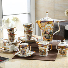 15 pieces fashion coffee cup and saucer ceramic tea sets luxury high-level bone china coffee cup and saucer sets