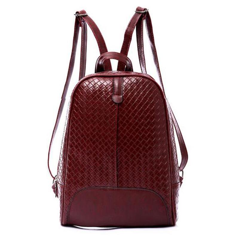 2015 New Women Backpacks Preppy Style PU Leather School College Travel Schoolbags Mochila Lattice Rucksack Girl Gift 1pcs(China (Mainland))