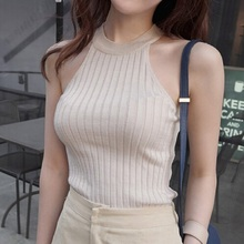 2016 Women Cropped Knitted Top Cotton Off Shoulder Sexy Tops Vest Lady Halter Crop Top(China (Mainland))