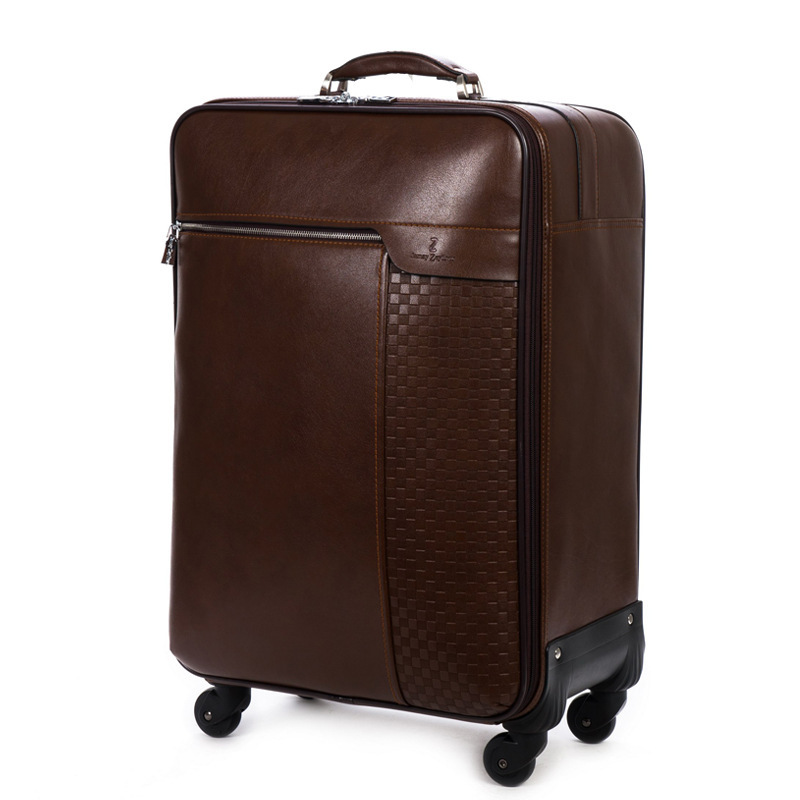 Genuine leather luggage 18/20/22/24/26 inch Travel suitcase,Spinner trolley travel bag,Business