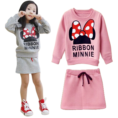 Spring Autumn children clothing set cute cartoon girls two pieces sets kids girl clothes set 2 colors long sleeve top and skirts(China (Mainland))